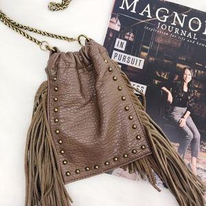 DV Mini bag pouch boho brown tassel chain strap